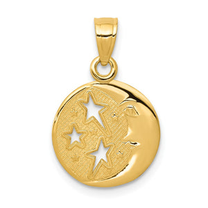 14k Yellow Gold 13mm Moon and Stars Pendant - The Black Bow Jewelry Co.