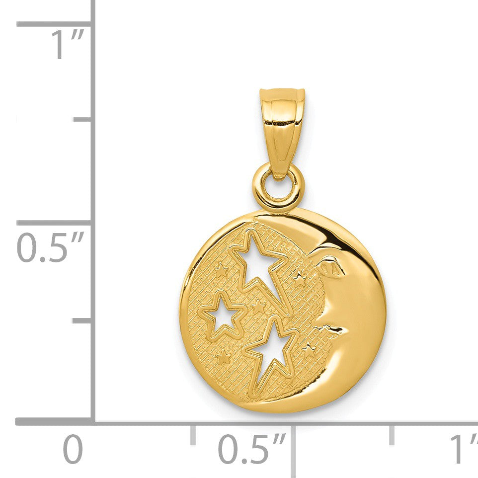 Alternate view of the 14k Yellow Gold 13mm Moon and Stars Pendant by The Black Bow Jewelry Co.