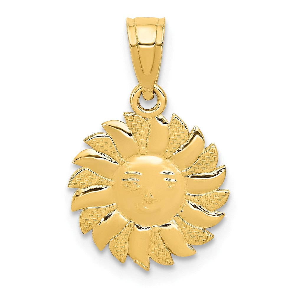 14k Yellow Gold 11mm Sun with Face Pendant, Item P11919 by The Black Bow Jewelry Co.