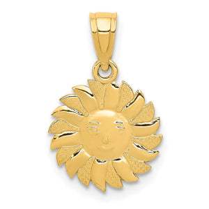 14k Yellow Gold 11mm Sun with Face Pendant - The Black Bow Jewelry Co.