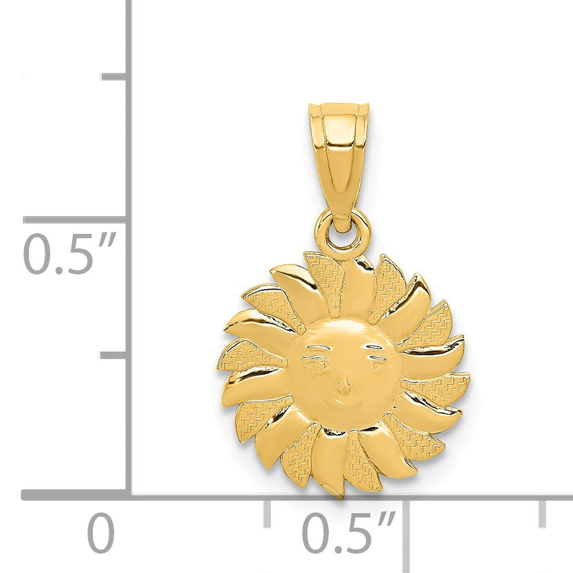 Alternate view of the 14k Yellow Gold 11mm Sun with Face Pendant by The Black Bow Jewelry Co.