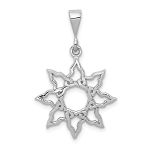 14k White Gold Polished Sun Pendant, 19mm - The Black Bow Jewelry Co.