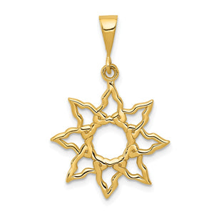 14k Yellow Gold 19mm Polished Sun Pendant - The Black Bow Jewelry Co.