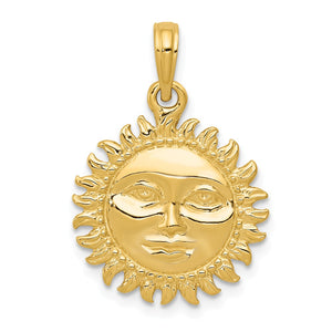 14k Yellow Gold 17mm 3D Sun with Face Pendant - The Black Bow Jewelry Co.