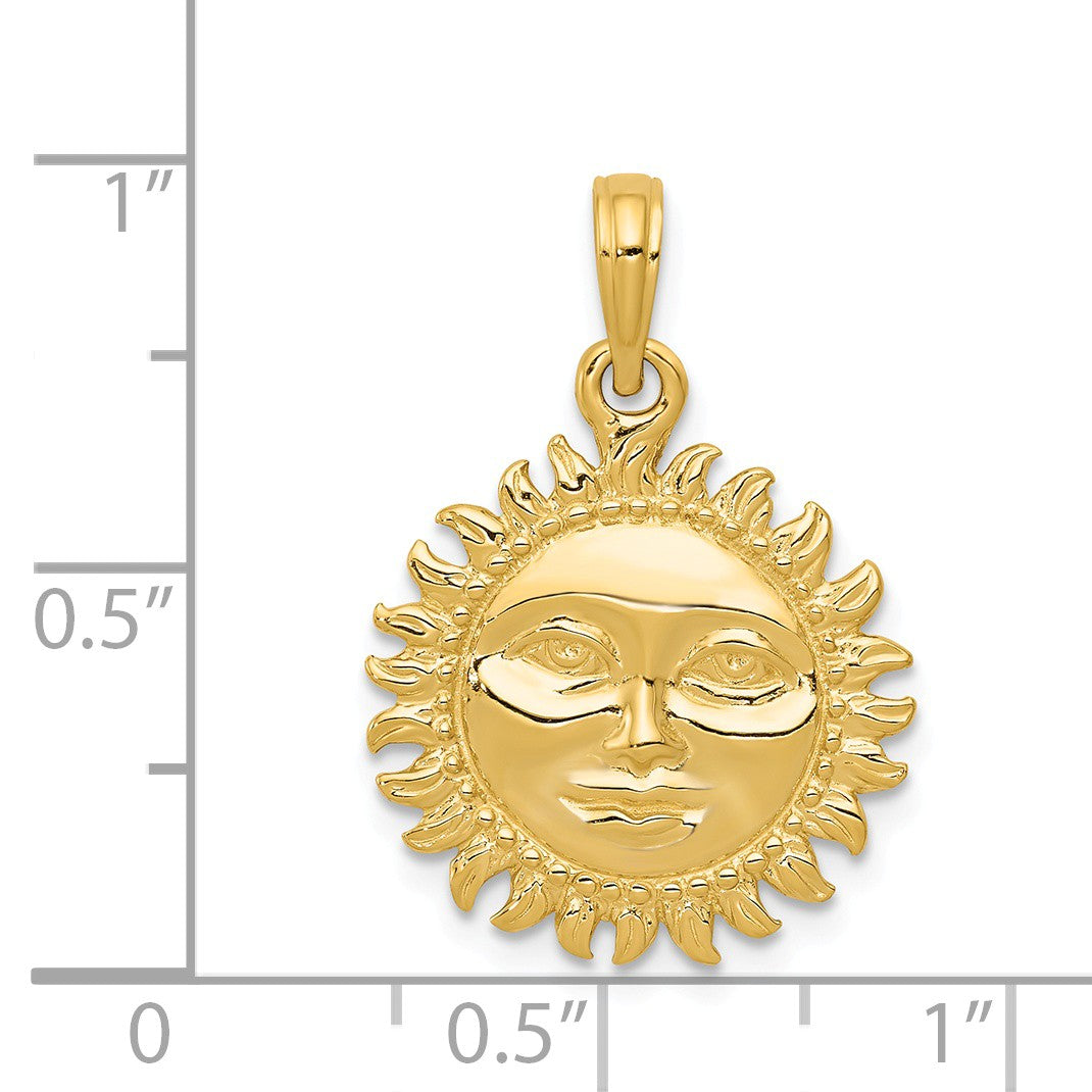 Alternate view of the 14k Yellow Gold 17mm 3D Sun with Face Pendant by The Black Bow Jewelry Co.
