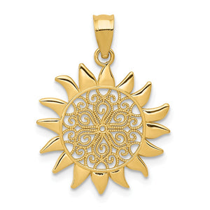 14k Yellow Gold 17mm Filigree Sun Pendant - The Black Bow Jewelry Co.