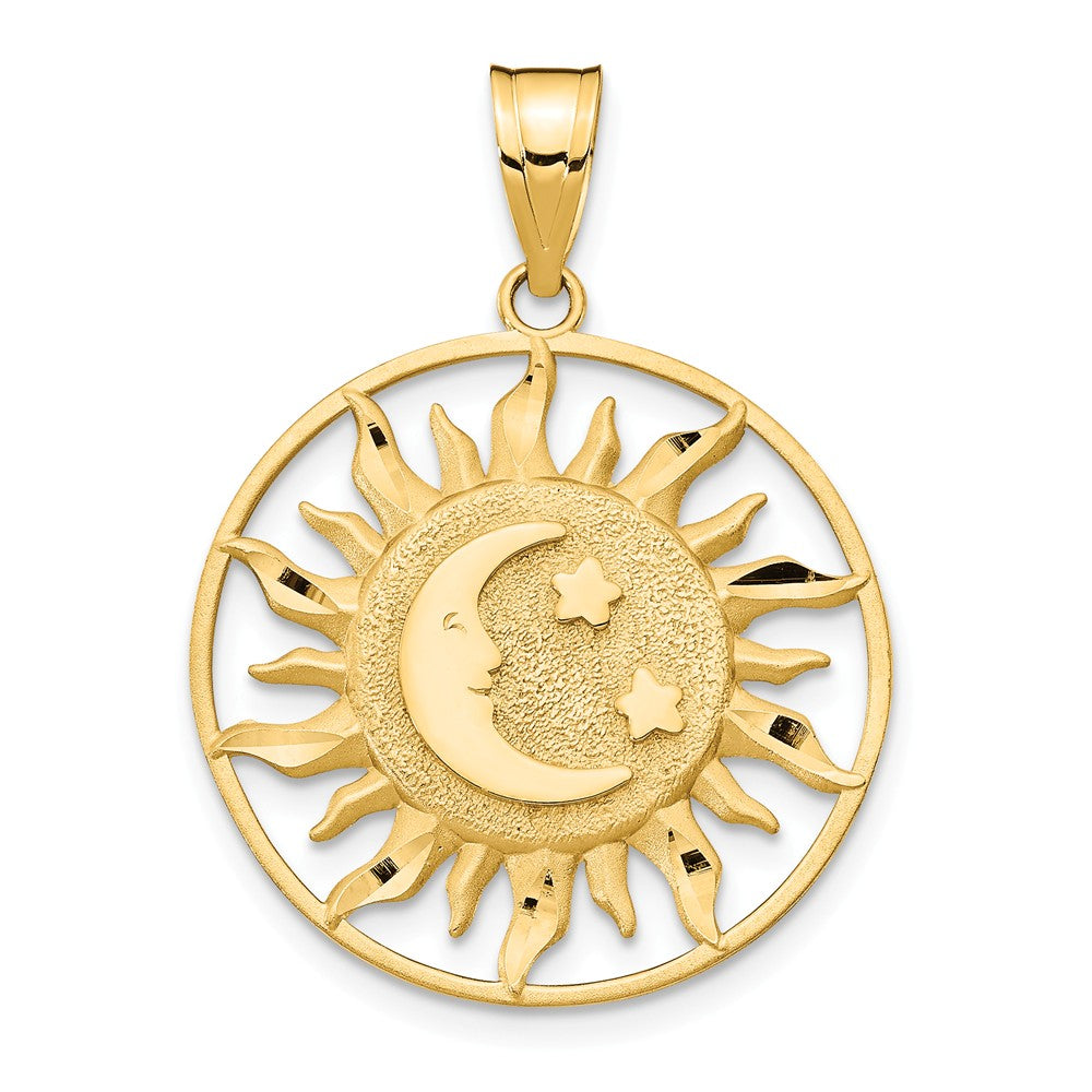 14k Yellow Gold 22mm Sun, Moon and Stars Circle Pendant, Item P11927 by The Black Bow Jewelry Co.