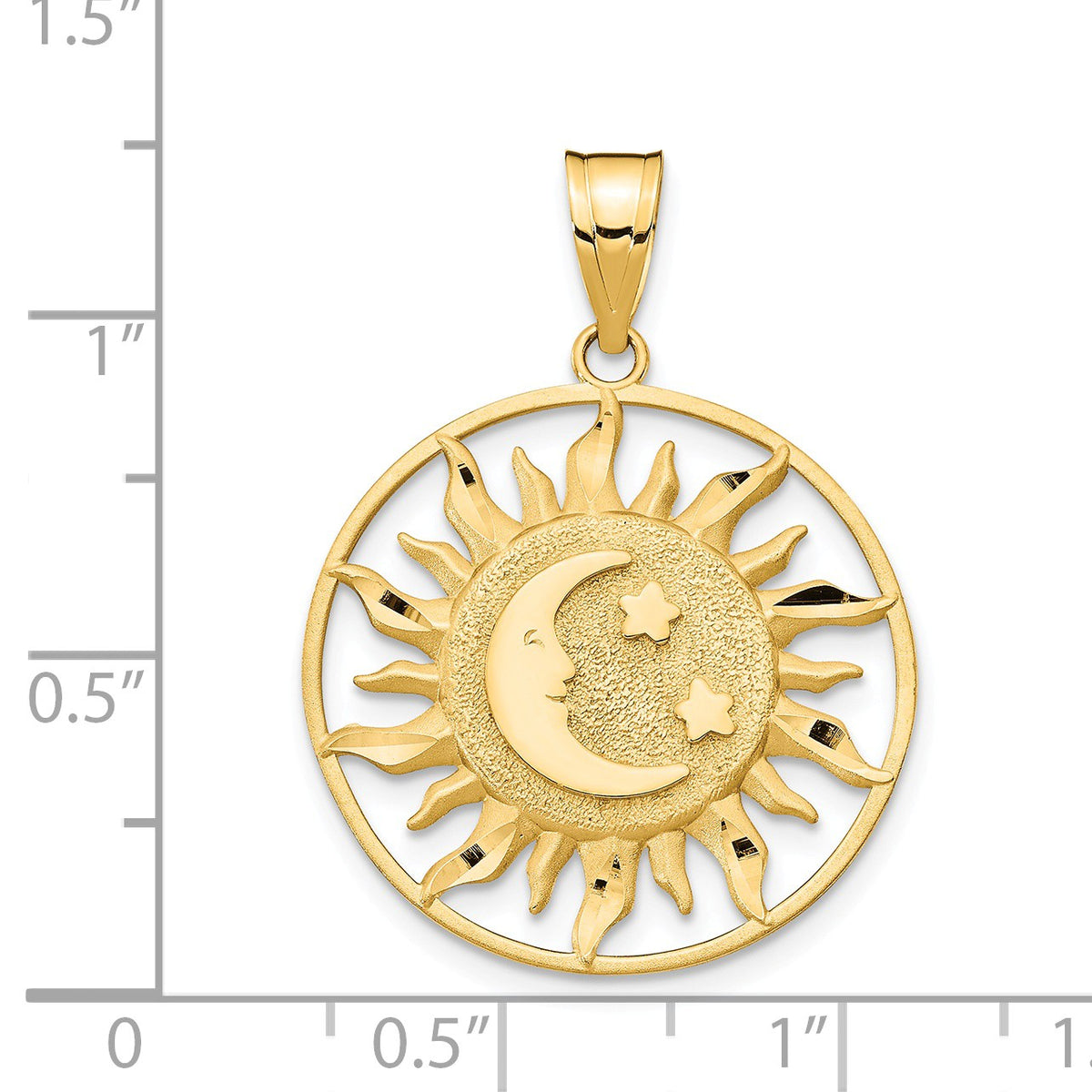 Alternate view of the 14k Yellow Gold 22mm Sun, Moon and Stars Circle Pendant by The Black Bow Jewelry Co.