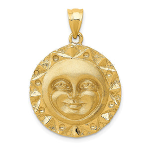 14k Yellow Gold 22mm Aztec Sun Disc Pendant - The Black Bow Jewelry Co.