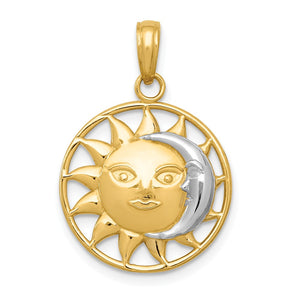 14k Yellow Gold & White Rhodium 17mm Sun and Moon Circle Pendant - The Black Bow Jewelry Co.