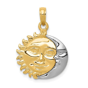 14k Yellow and White Gold 17mm 3D Sun and Moon Pendant - The Black Bow Jewelry Co.