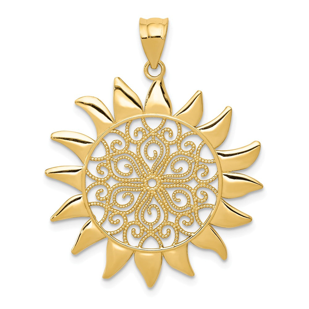 14k Yellow Gold 27mm Filigree Sun Pendant, Item P11931 by The Black Bow Jewelry Co.