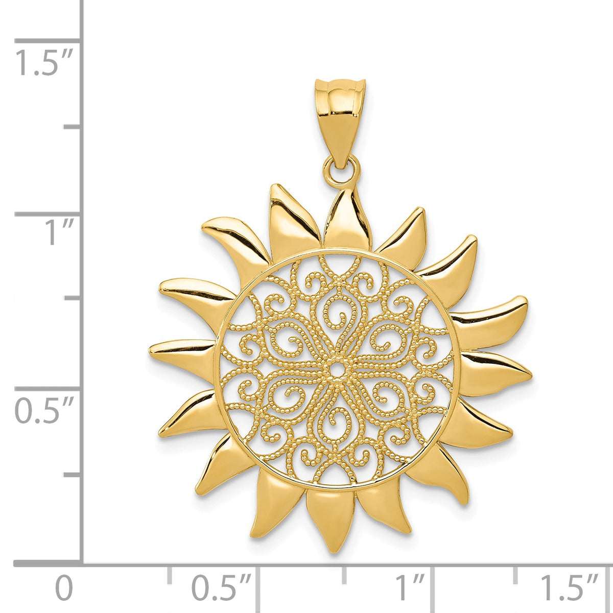 Alternate view of the 14k Yellow Gold 27mm Filigree Sun Pendant by The Black Bow Jewelry Co.
