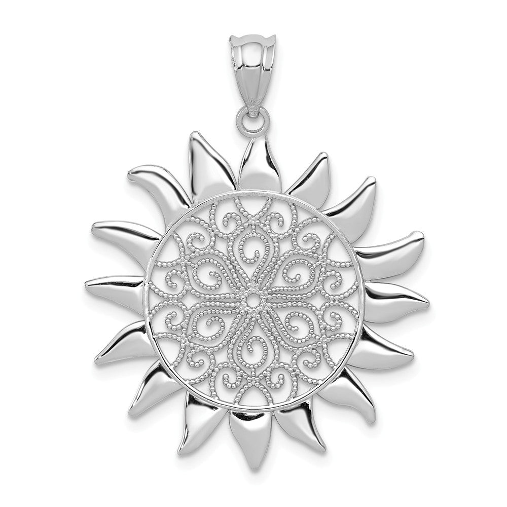 14k White Gold Filigree Sun Pendant, 27mm, Item P11933 by The Black Bow Jewelry Co.