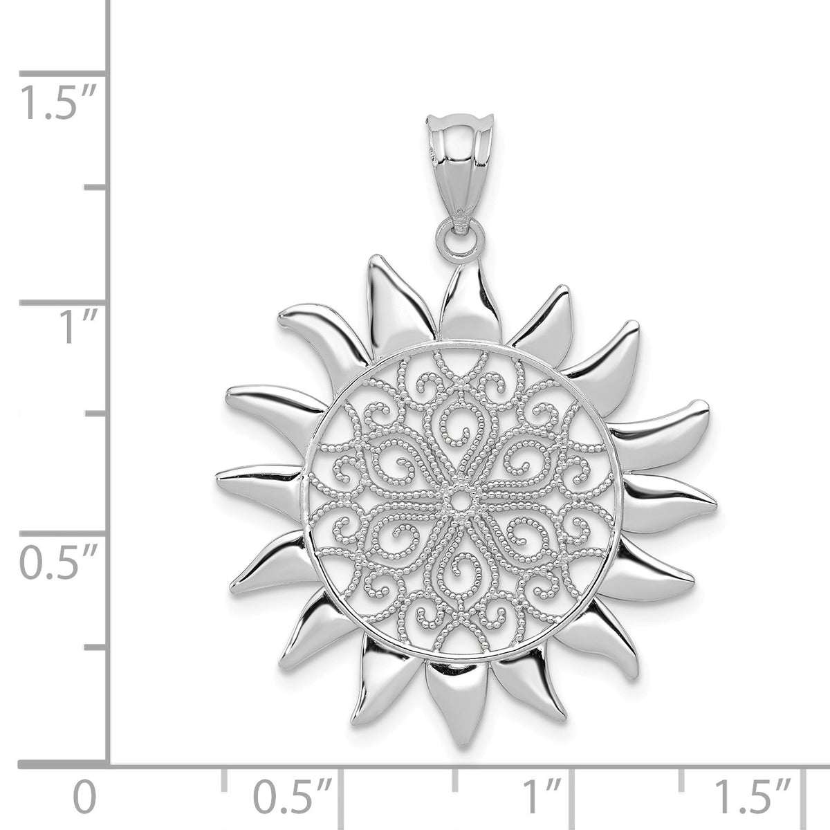 Alternate view of the 14k White Gold Filigree Sun Pendant, 27mm by The Black Bow Jewelry Co.