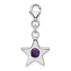 Sterling Silver February CZ Birthstone 13mm Star Clip-on Charm Necklace - The Black Bow Jewelry Co.