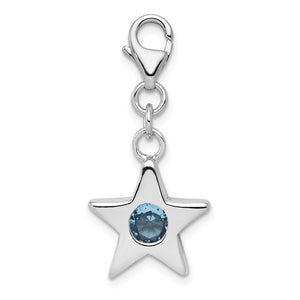 Sterling Silver March CZ Birthstone 13mm Star Clip-on Charm Necklace - The Black Bow Jewelry Co.