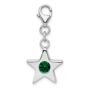Sterling Silver May CZ Birthstone 13mm Star Clip-on Charm Necklace - The Black Bow Jewelry Co.