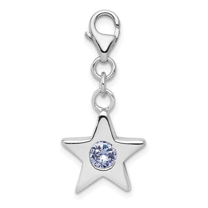 Sterling Silver June CZ Birthstone 13mm Star Clip-on Charm Necklace - The Black Bow Jewelry Co.