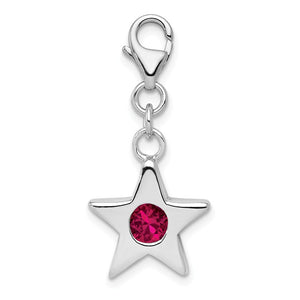 Sterling Silver July CZ Birthstone 13mm Star Clip-on Charm Necklace - The Black Bow Jewelry Co.
