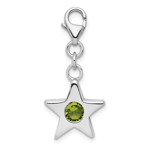 Sterling Silver August CZ Birthstone 13mm Star Clip-on Charm Necklace - The Black Bow Jewelry Co.