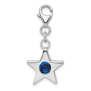 Sterling Silver September CZ Birthstone 13mm Star Clip-on Charm Necklace - The Black Bow Jewelry Co.