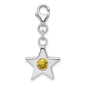 Sterling Silver November CZ Birthstone 13mm Star Clip-on Charm Necklace - The Black Bow Jewelry Co.