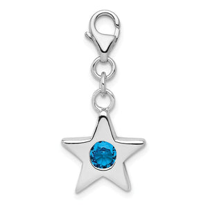 Sterling Silver December CZ Birthstone 13mm Star Clip-on Charm Necklace - The Black Bow Jewelry Co.