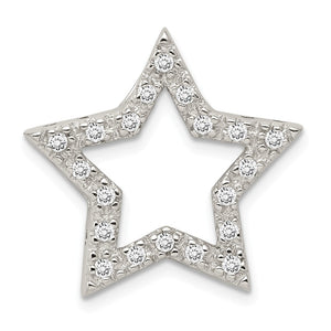 Sterling Silver and Cubic Zirconia Outlined Star Slide Pendant, 22mm - The Black Bow Jewelry Co.