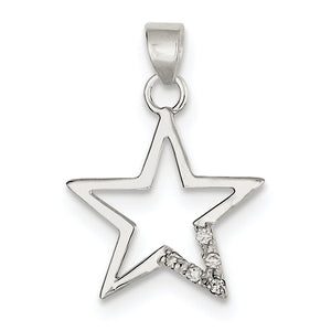 Sterling Silver and Cubic Zirconia Accent Star Pendant, 19mm - The Black Bow Jewelry Co.