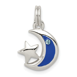 Sterling Silver, Cubic Zirconia and Enamel Blue Moon and Star Charm Necklace - The Black Bow Jewelry Co.