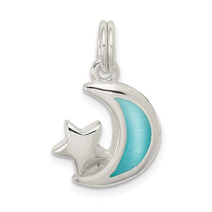 Sterling Silver and Enameled Light Blue Moon and Star Charm Necklace - The Black Bow Jewelry Co.