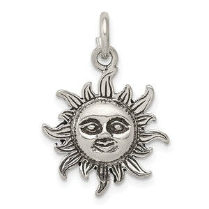 Sterling Silver 17mm Antiqued Sun Pendant - The Black Bow Jewelry Co.
