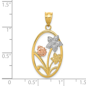 Alternate view of the 14k Yellow & Rose Gold with White Rhodium Oval Floral Pendant by The Black Bow Jewelry Co.