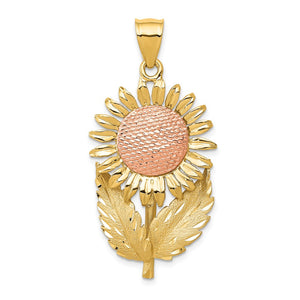 14k Yellow and Rose Gold Large Two Tone Sunflower Pendant - The Black Bow Jewelry Co.