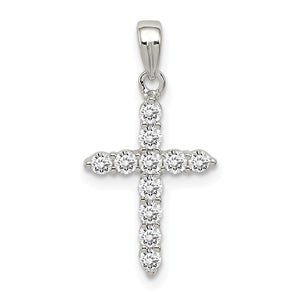 Sterling Silver and Cubic Zirconia Small Cross Pendant - The Black Bow Jewelry Co.