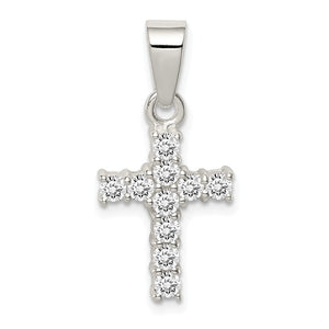 Sterling Silver and Cubic Zirconia Medium Cross Pendant - The Black Bow Jewelry Co.
