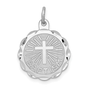 Sterling Silver Baptism Disc Charm, 15mm - The Black Bow Jewelry Co.
