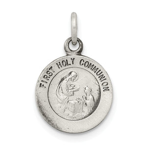 Sterling Silver Antiqued First Holy Communion Medal Charm, 11mm - The Black Bow Jewelry Co.