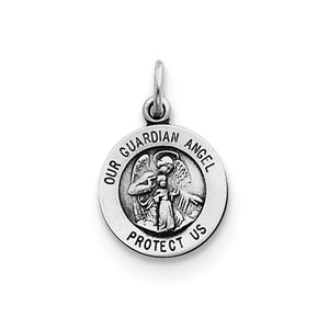 Sterling Silver Antiqued Guardian Angel Medal Charm, 11mm - The Black Bow Jewelry Co.