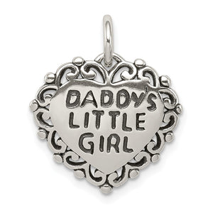 Sterling Silver 16mm Antiqued Daddy's Little Girl Heart Pendant - The Black Bow Jewelry Co.