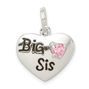 Sterling Silver, CZ and Enameled Big Sis Pink Heart Charm, 16mm - The Black Bow Jewelry Co.