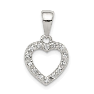 Sterling Silver and Cubic Zirconia Heart Shaped Pendant, 11mm - The Black Bow Jewelry Co.