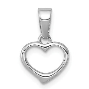 Sterling Silver 10mm Open Heart Pendant - The Black Bow Jewelry Co.