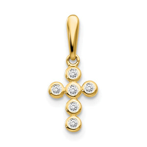 14k Yellow Gold and Cubic Zirconia Jeweled Cross Pendant, 10mm - The Black Bow Jewelry Co.