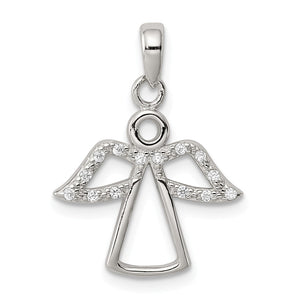 Sterling Silver and Cubic Zirconia Angel Pendant - The Black Bow Jewelry Co.