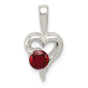 Sterling Silver and Red Cubic Zirconia 8mm Heart Pendant - The Black Bow Jewelry Co.