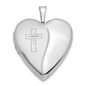 14k White Gold Polished and Satin Heart w/ Cross Locket, 20mm - The Black Bow Jewelry Co.