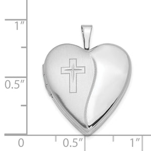 Alternate view of the 14k White Gold Polished and Satin Heart w/ Cross Locket, 20mm by The Black Bow Jewelry Co.
