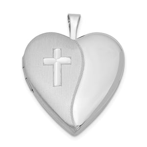 Sterling Silver 20mm Polished and Satin Heart w/ Cross Locket Necklace - The Black Bow Jewelry Co.